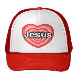 Eu amo Jesus. Eu te amo Jesus. Coração Bonés