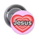 Eu amo Jesus. Eu te amo Jesus. Coração Botons