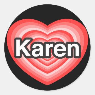 Eu amo Karen. Eu te amo Karen. Coração Adesivos Em Formato Redondos