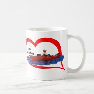 Eu amo (laboratório amarelo) 1 kayaking caneca de café