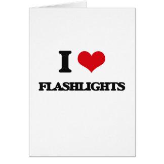 eu AMO lanternas elétricas Cartão Comemorativo