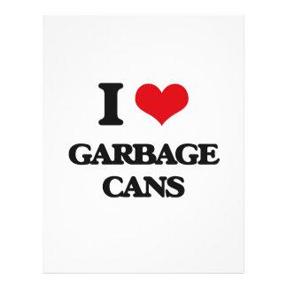 Eu amo latas de lixo panfleto personalizado
