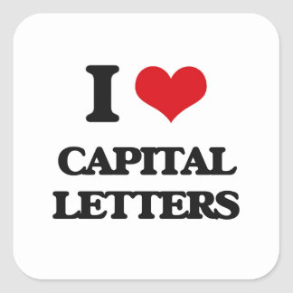 Eu amo letras principais adesivo quadrado