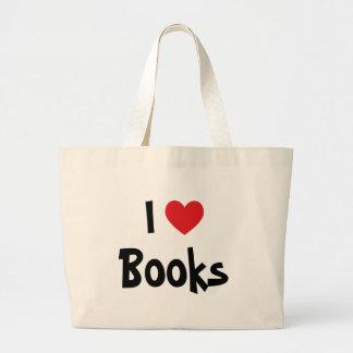 Eu amo livros bolsas de lona