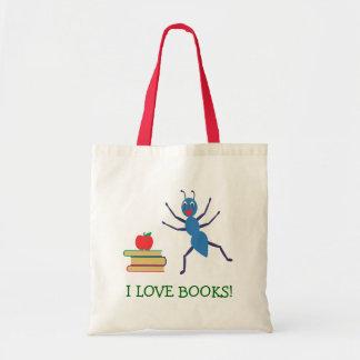 Eu amo livros bolsa tote