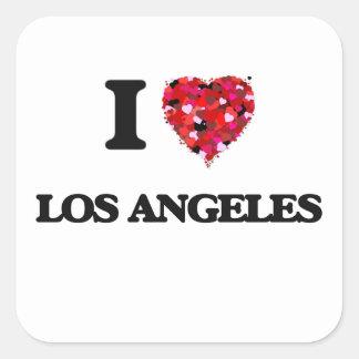 Eu amo Los Angeles Califórnia Adesivo Quadrado