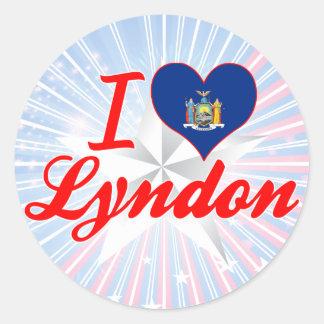 Eu amo Lyndon, New York Adesivos Redondos