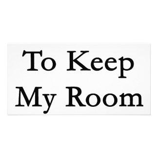 Eu amo manter minha sala limpa cartao com fotos personalizado