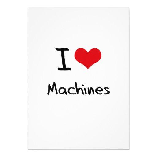 Eu amo máquinas convite personalizados