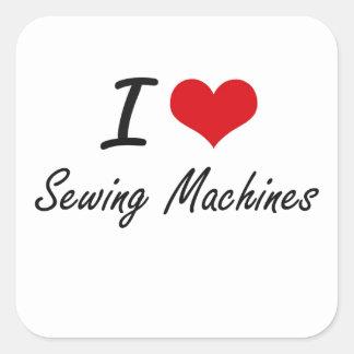 Eu amo máquinas de costura adesivo quadrado