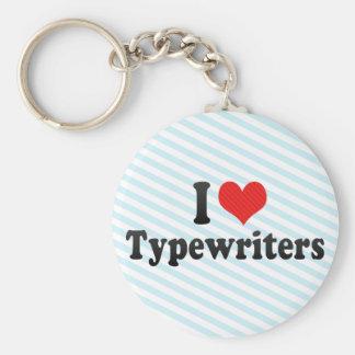 Eu amo máquinas de escrever chaveiro