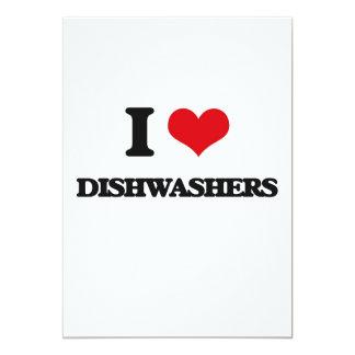 Eu amo máquinas de lavar louça convite 12.7 x 17.78cm