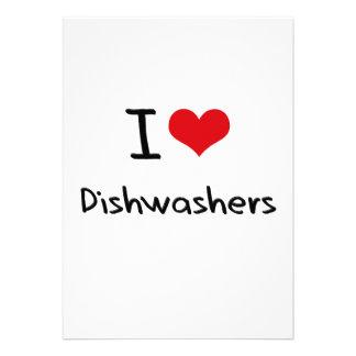 Eu amo máquinas de lavar louça convites personalizado