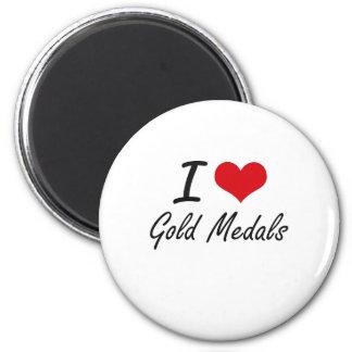 Eu amo medalhas de ouro ímã redondo 5.08cm