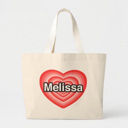Eu amo Melissa. Eu te amo Melissa. Coração Bolsa Para Compras
