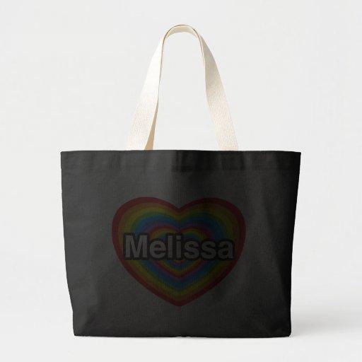 Eu amo Melissa. Eu te amo Melissa. Coração Bolsas