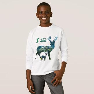 Eu amo meninos da camisa da rena t