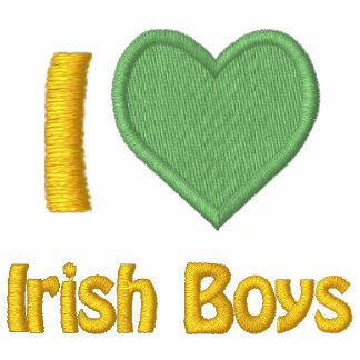 Eu amo meninos irlandeses mulheres bordadas moleton bordado com capuz