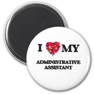 Eu amo meu ajudante administrativo ímã redondo 5.08cm