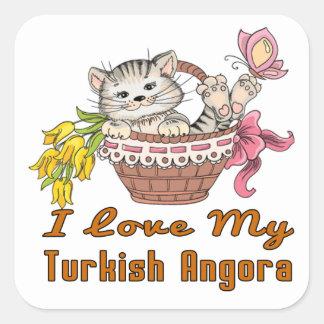 Eu amo meu angora turco adesivo quadrado