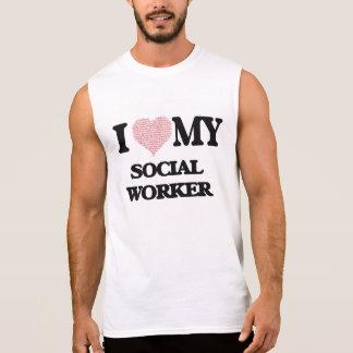 Eu amo meu assistente social (o coração feito das camisa sem mangas