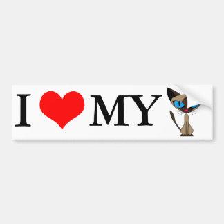 Eu amo meu autocolante no vidro traseiro do gato S Adesivo