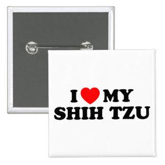 Eu amo meu botão de Shih Tzu Bóton Quadrado 5.08cm