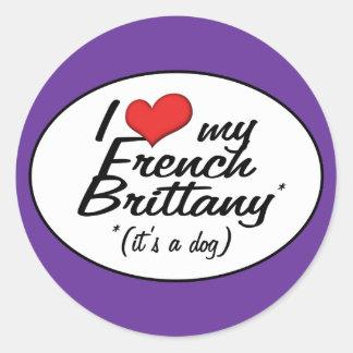 Eu amo meu Brittany francês (é um cão) Adesivos Redondos