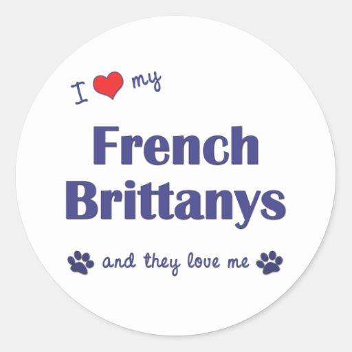 Eu amo meu Brittanys francês (os cães múltiplos) Adesivos Redondos