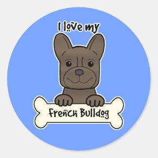 Eu amo meu buldogue francês adesivo