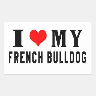 Eu amo meu buldogue francês adesivo em formato retângular