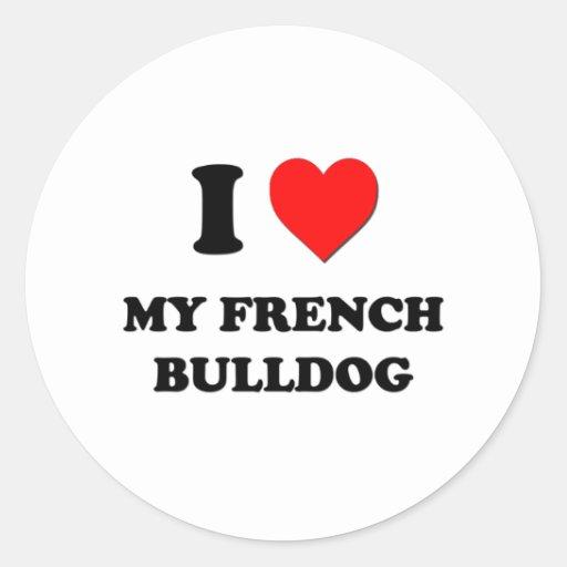 Eu amo meu buldogue francês adesivos redondos