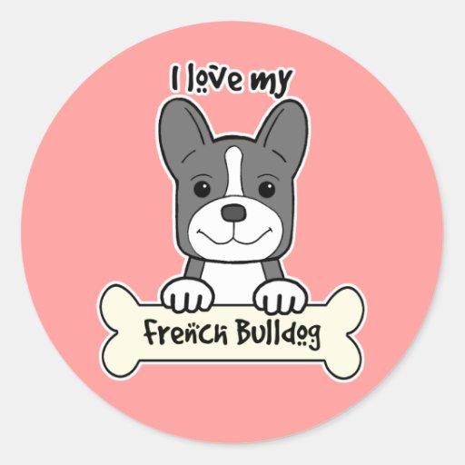 Eu amo meu buldogue francês adesivos em formato redondos