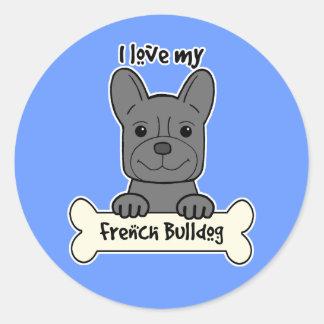 Eu amo meu buldogue francês adesivo redondo