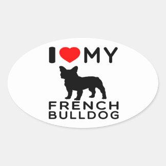 Eu amo meu buldogue francês adesivos em formato ovais