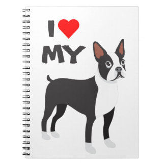 Eu amo meu caderno de Boston Terrier