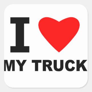Eu amo meu caminhão adesivo em forma quadrada