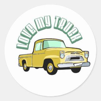 Eu amo meu caminhão - velho, recolhimento amarelo adesivo