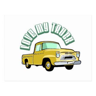 Eu amo meu caminhão - velho, recolhimento amarelo cartão postal
