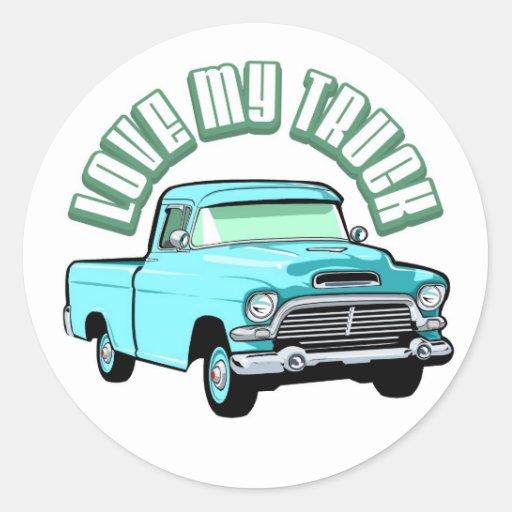 Eu amo meu caminhão - velho, recolhimento azul adesivos redondos