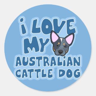 Eu amo meu cão australiano do gado adesivos em formato redondos