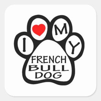 Eu amo meu cão do buldogue francês adesivo quadrado