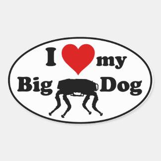 Eu amo meu cão grande adesivo oval