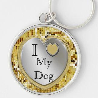 Eu amo meu cão ou? Chaveiro do coração