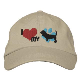 Eu amo meu chapéu bordado Basset Hound Boné Bordado