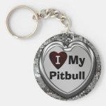 Eu amo meu chaveiro do coração de Pitbull