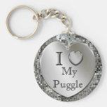 Eu amo meu chaveiro do coração de Puggle
