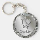 Eu amo meu chaveiro do coração de Yorkie