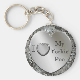 Eu amo meu chaveiro do coração de Yorkie Poo