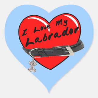Eu amo meu coração de Labrador com coleira de cão Adesivos De Corações